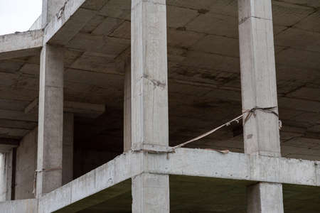 Reinforced concrete structures of a house under construction