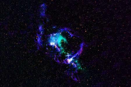 Beautiful space, blue nebula.