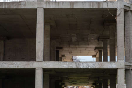 Reinforced concrete structures of a house under construction. High quality photo