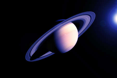 Saturn planet in unusual colors. Banque d'images