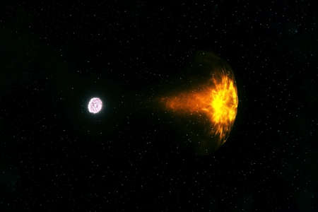 A neutron star pulls a star.