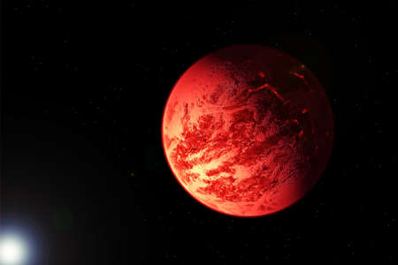 Red exoplanet in deep space. Banque d'images