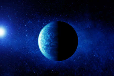 Exoplanet in deep space. In blue.