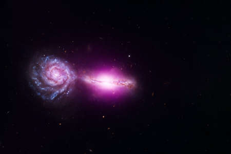 Two connected galaxies. 스톡 콘텐츠