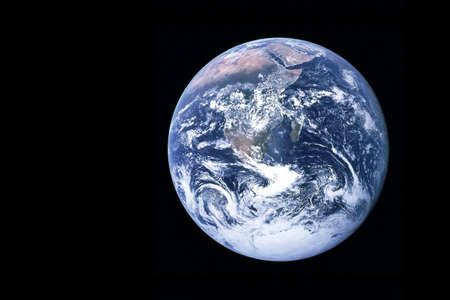 Planet earth, with cyclones and hurricanes.