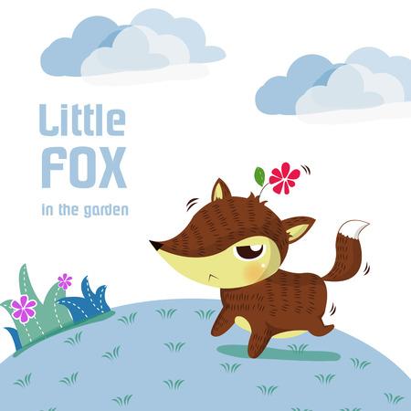 little fox run in the garden Vector