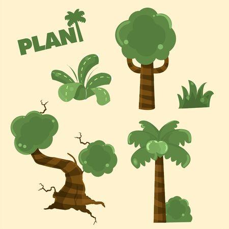 relent: collezione di piante di legno del fumetto Vettoriali