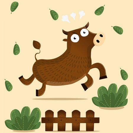 delectable: angry ox run in farm Illustration
