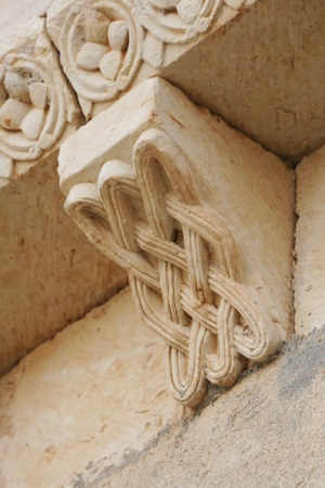 romanesque: Romanesque sculpture, Duraton church. Segovia. Spain. Stock Photo