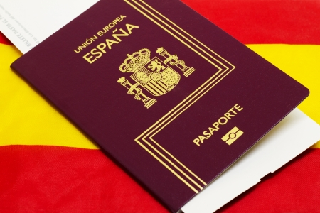 Spanish passport on spanish flag background photo