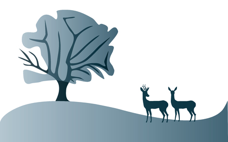 Reeën landschap illustratie
