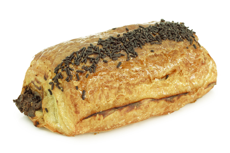 Chocolate croissant isolated on white  photo