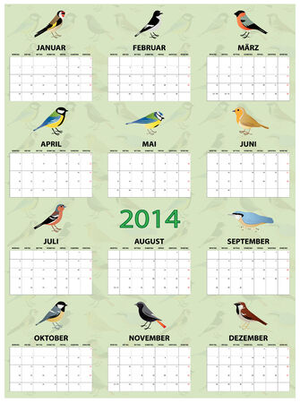 2014 german calendar with different european common birds Vector