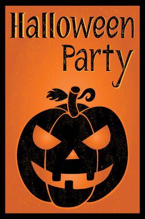 postcard background: Halloween party postcard with one pumpkin on orange background Illustration