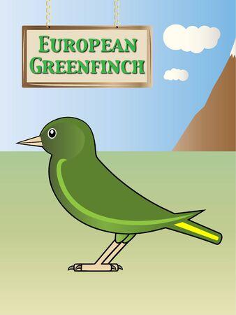 european alps: European greenfinch nature on background illustration Illustration