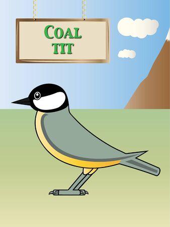 european alps: Coal tit on a natural background illustration Illustration