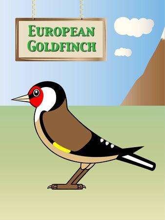 european alps: European Goldfinch illustration Natural background on