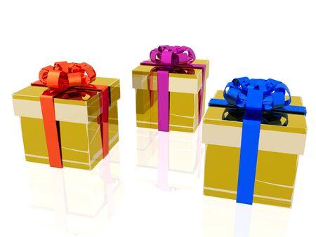 three gift boxes: Tres regalos de cuadros sobre fondo blanco. Foto de archivo