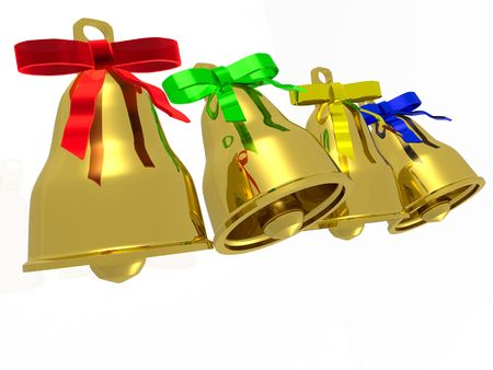Four gold bells with bow on white background. photo