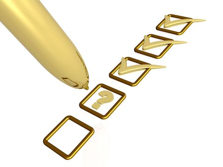 scruple: Gold pen with ticks and question mark on white background.