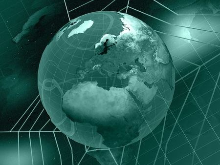Space collage - globe, space and cobweb on star background (green). Stock Photo - 5907092