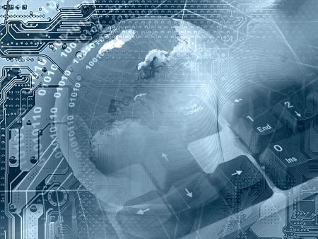Abstrakte Collage - Globus, Tastatur und Lace auf elektronische Hintergrund (blau).  Standard-Bild - 5907099