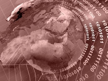 Globe collage - globe, digits and cobweb on checkered background (red).  Stock Photo - 5907094