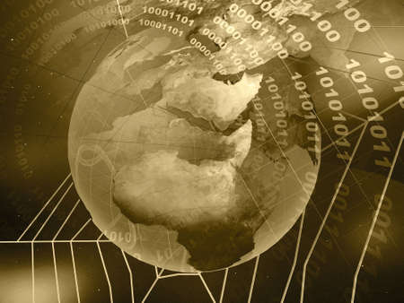 Collage - globe, space and cobweb on star background (sepia). Stock Photo - 5907089