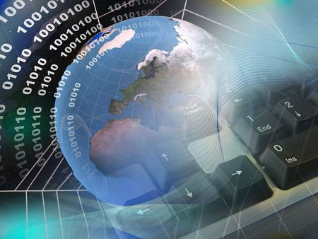 Electronic collage - globe, digits, keyboard and cobweb on space background.  Stock Photo - 5907084