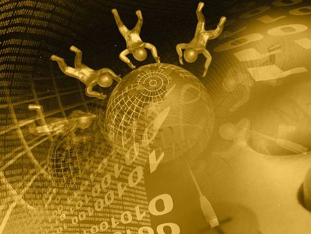Globe, mans and digits against the digital background (sepia). Stock Photo - 6047260