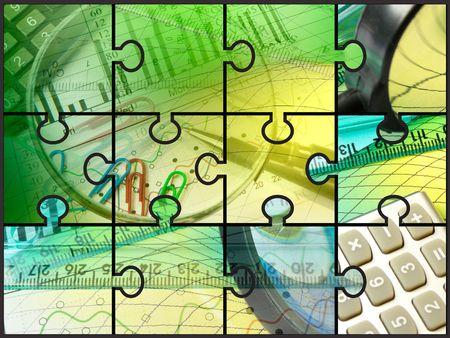 Lápiz, Ampliador, gobernante y calculadora, collage sobre análisis.  Foto de archivo - 6132431