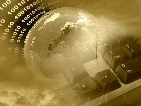 Collage electrónica - globo, dígitos, teclado y telaraña sobre fondo de espacio (sepia).  Foto de archivo - 6152226