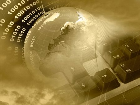 Electronic collage - globe, digits, keyboard and cobweb on space background (sepia).  Stock Photo