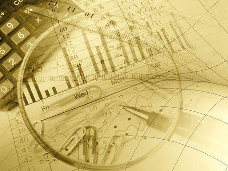 Stift, Herrscher, Papier-Clips und Rechner gegen das Diagramm - Collage in gelb. Standard-Bild - 6152230