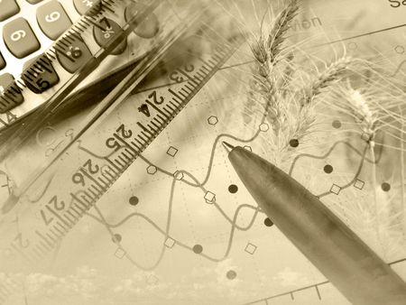 Business Collage über ländliche Wirtschaft in Sepia. Standard-Bild - 6152233