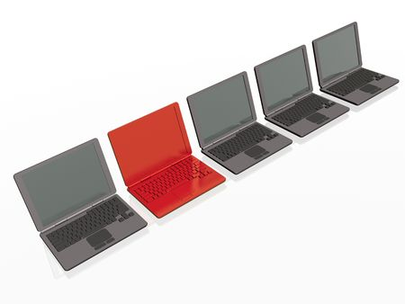 minicomputer: Grey and red laptops on white background. Stock Photo