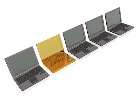 minicomputer: Grey and gold laptops on white background. Stock Photo