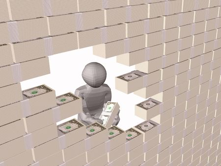 flaw: Gray 3d man near the money wall, white background. Stock Photo