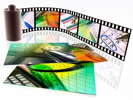 3d film roll with colour pictures and photos (business).