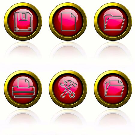 Browser buttons set - red buttons on white background. photo