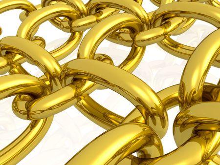hauberk: Gold hauberk on the white reflective background.