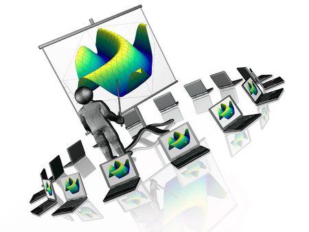 Wireless presentation - notebooks and presentation stand on white background. photo