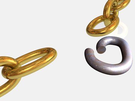 cadena rota: Oro y oxidada cadena rota.  Foto de archivo