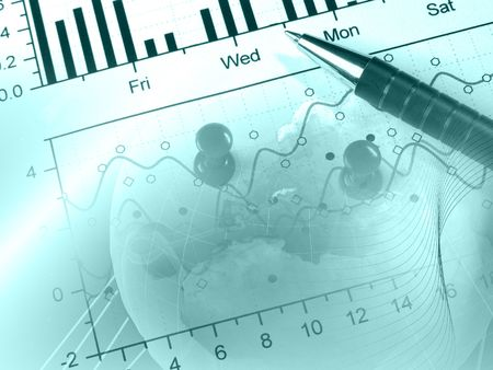 Pen and globe against the graph - business collage in blues. photo