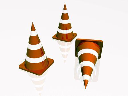 itinerary: Three precautionary cones, white reflective background.