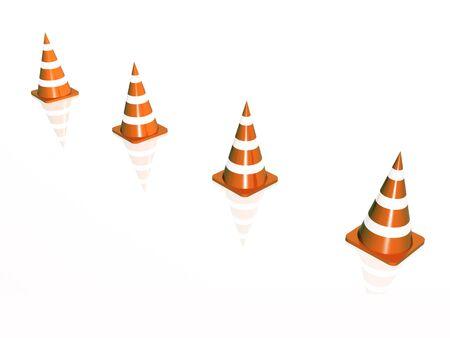 Precautionary cones arranged along the line, white reflective background.