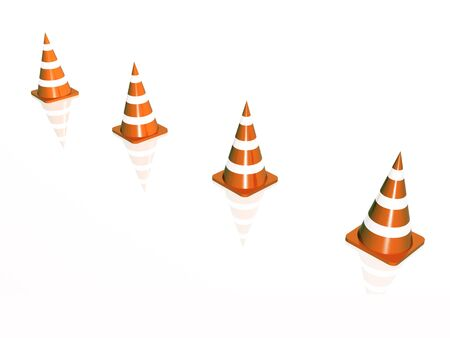 itinerary: Precautionary cones arranged along the line, white reflective background.