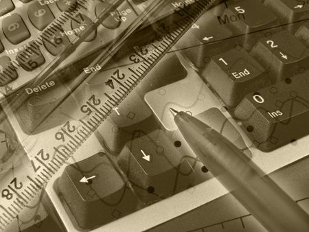 Graphic, pen, ruler and keyboard, collage about statistic (in sepia). photo
