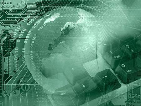 Abstrakte Collage - Globe, Tastatur und Cobweb on electronic Background (grün).  Standard-Bild - 7148654