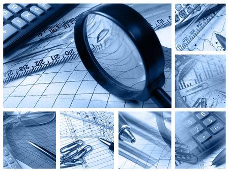 Collage de negocio acerca de contabilidad en blues y presentación de informes.  Foto de archivo - 7148668
